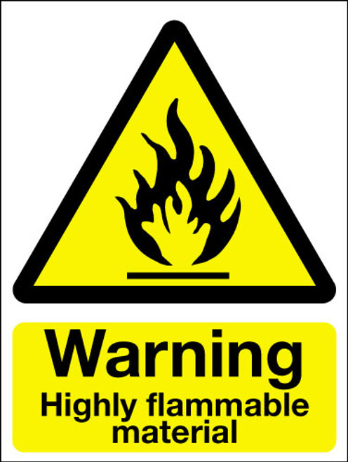 Warning highly flammable material sign