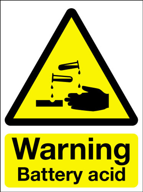 Warning battery acid sign
