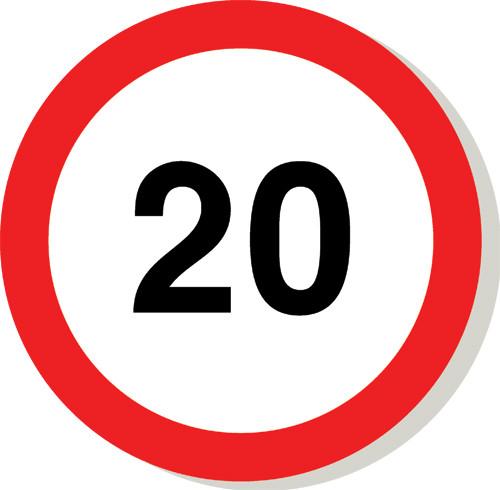 20 mph sign