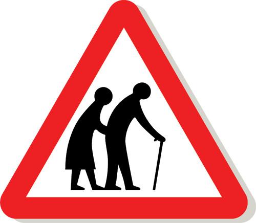 Elderly people crossing sign