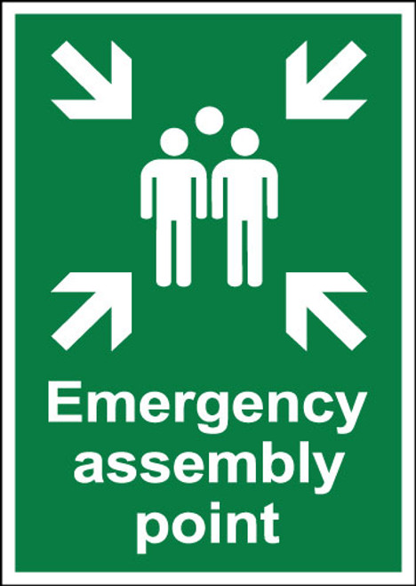 Emergency assembly point sign.