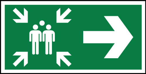 Fire Assembly point Right sign