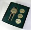 Pro Divot repair tool gift set includes 4 personalized ballmarkers and gift box packaging