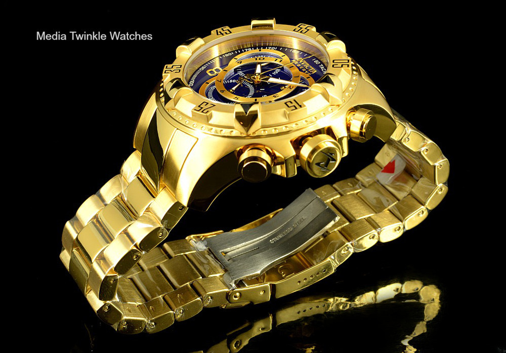 Invicta 6469 Reserve Excursion Swiss Quartz Chronograph Blue Dial All Gold Plated Stainless Steel | Free Shipping
