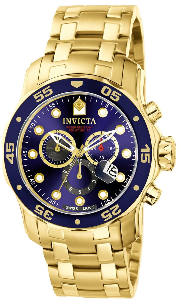 Invicta 0073 Pro Diver Scuba Quartz Chronograph Blue Dial Stainless Steel Bracelet Watch | Free Shipping