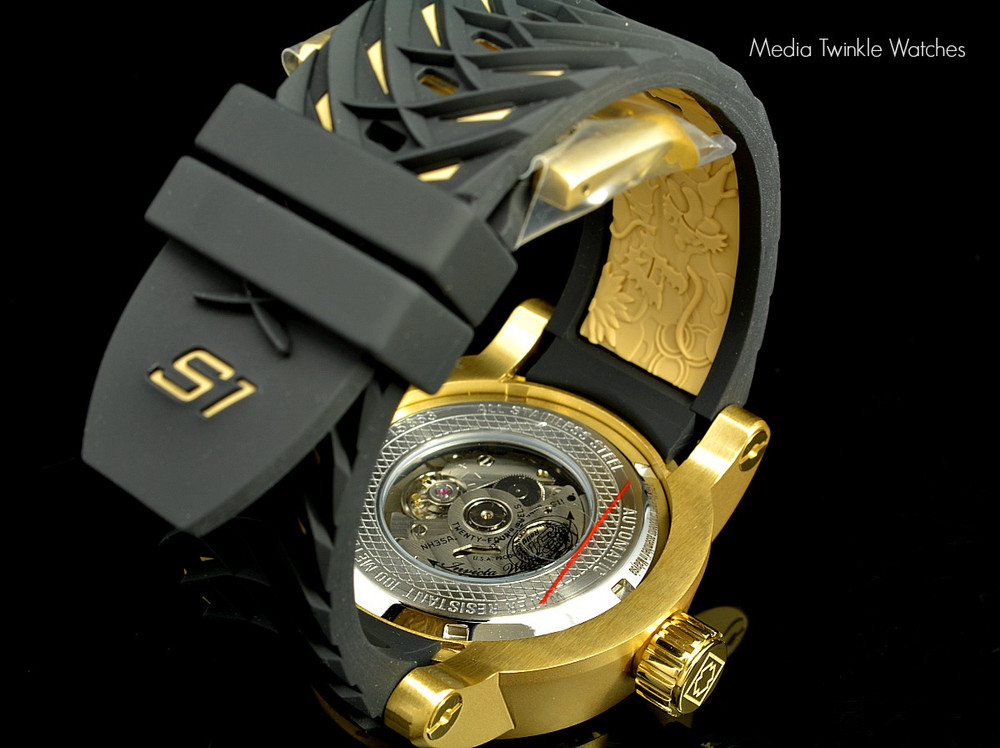 Invicta 15863 S1 Dragon Gold Dial Automatic Stainless Steel Case Black Silicone Strap Watch | Free Shipping