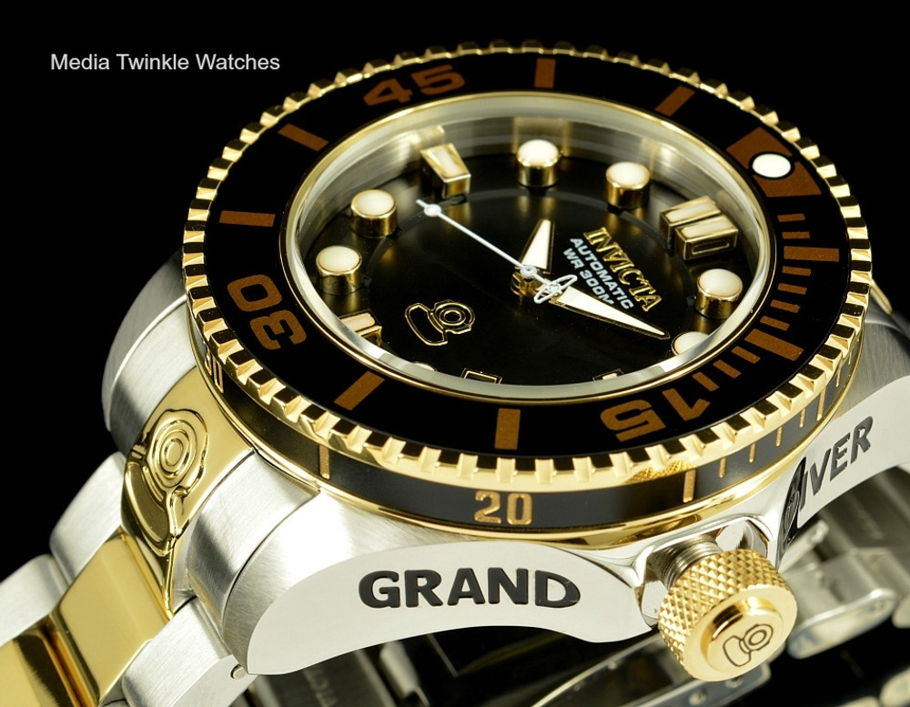 Invicta 19803 Grand Diver 2 Gen II 47mm Automatic Two-Tone Gold Black Dial  Bezel Stainless Steel Bracelet Watch | Free Shipping