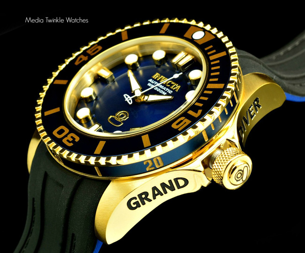 Invicta 20203 Grand Diver 2 Gen II 47mm Automatic Navy Blue Dial Gold Tone Bezel Polyurethane Strap Watch | Free Shipping