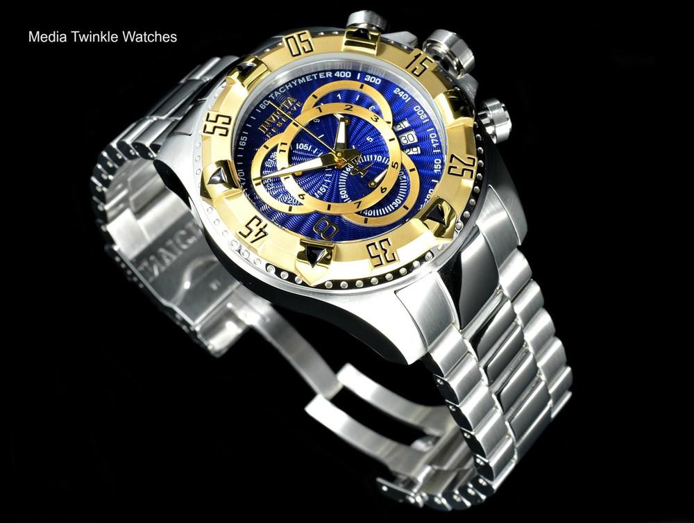 Invicta 11004 Reserve Men's Excursion Blue Dial Gold Tone Bezel Swiss Quartz Chronograph Bracelet Watch | Free Shipping