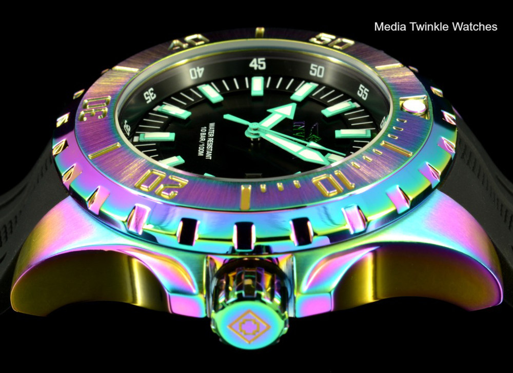 Invicta 23742 Pro Diver 52m Quartz Iridescent Finish Black Dial Black Polyurethane Strap Watch