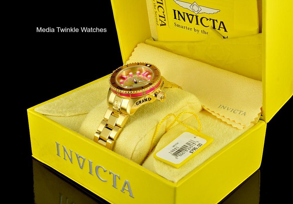 Invicta 19821 women's 38mm Grand Diver Gen II Quartz Gold Tone & Pink Bracelet Watch