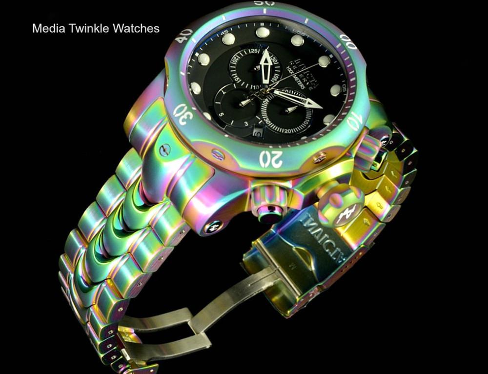 Invicta 52mm Reserve Venom Iridescent Black Dial Quartz Chronograph Bracelet Watch 19764