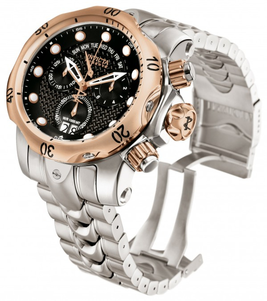 Invicta 1541 Reserve Venom Swiss Made Chronograph Stainless Steel Rose Tone Bezel Black Carbon Fiber Dial Watch w/ Strap | Free Shipping