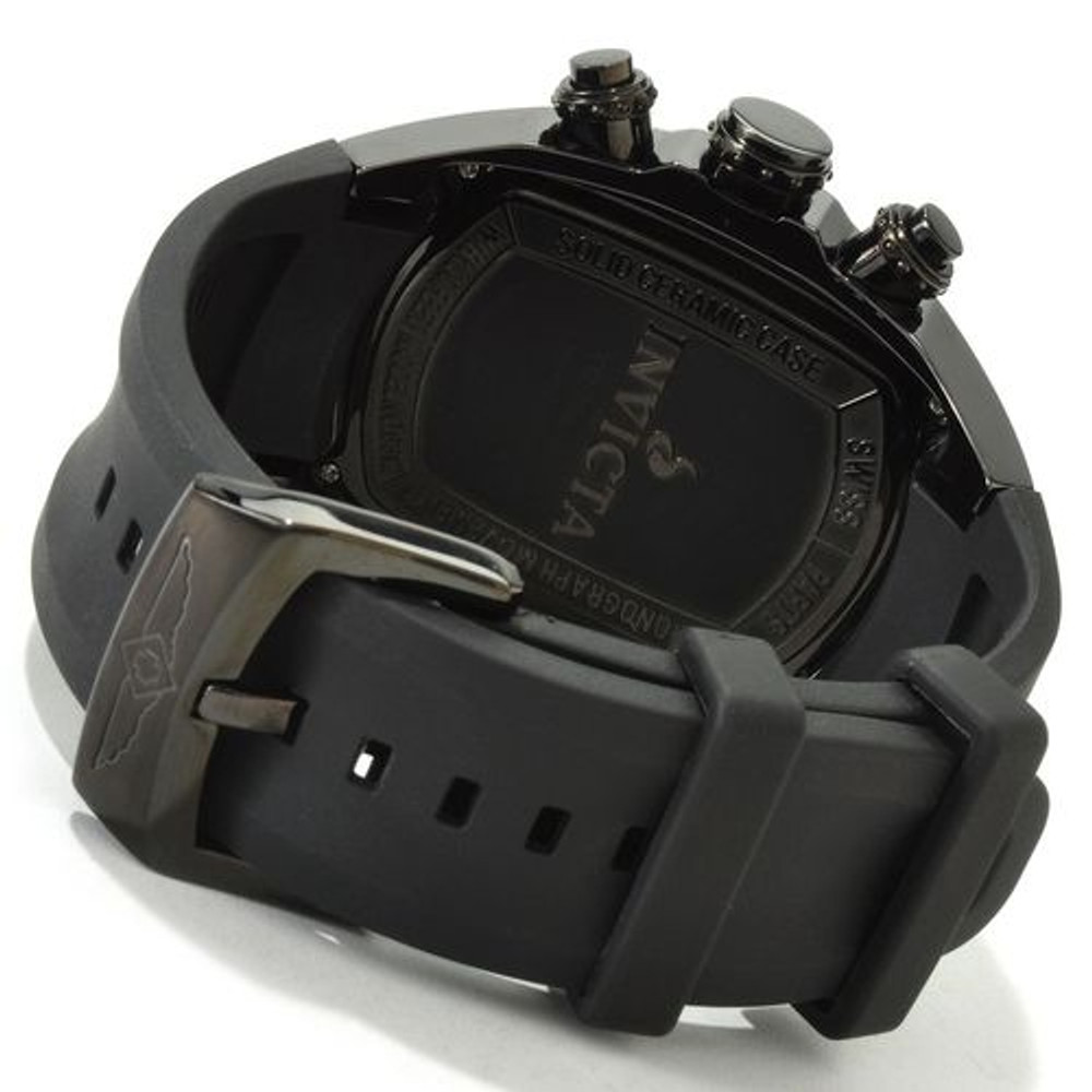 Invicta 0314 Men's Lupah Revolution Ceramic Swiss Chronograph Blue Dial Black Polyurethane Strap Watch   Free Shipping