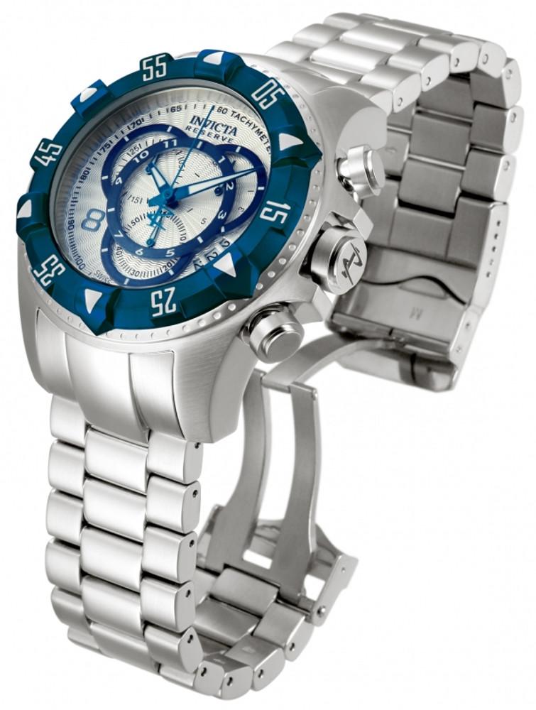 Invicta 11007 Reserve Men's Excursion Silver Dial Blue IP Bezel Swiss Quartz Chronograph Bracelet Watch | Free Shipping