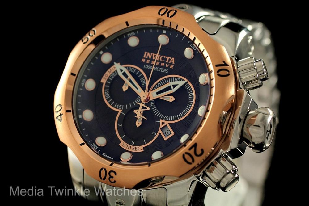 Invicta 10785 Reserve Men's Venom Swiss Made Quartz Chronograph Stainless Steel Bracelet Watch   Free Shipping