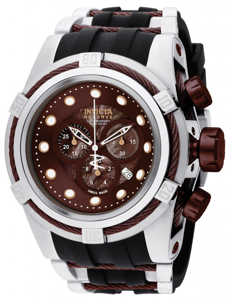 Invicta 0830 Reserve Bolt Zeus Swiss Made Quartz Chronograph Brown Mother-of-Pearl Dial Polyurethane Strap Watch (Zeus) | Free Shipping