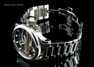 Invicta 14212S Russian Diver Bridge Automatic Silver Tone Solid Stainless Steel Bracelet + Black Leather Strap Watch | Free Shipping
