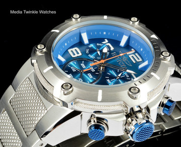 Invicta 19527 Speedway XL Teal Blue Dial Swiss Parts Chronograph Silver Bracelet Watch   Free Shipping