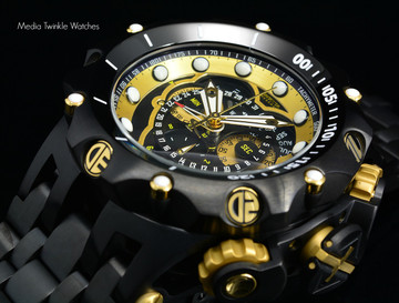 Invicta 20420 Reserve 52MM VENOM Hybrid Black & Gold Tone 5040F Swiss Quartz Chronograph Bracelet Watch | Free Shipping