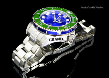 Invicta 20173 Grand Diver 2 Gen II 47mm Automatic Blue Dial Green Bezel Stainless Steel Bracelet Watch   Free Shipping