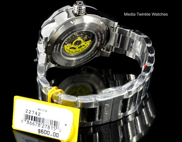Invicta 22742 Disney® 50mm Limited Edition AUTOMATIC Black Dial Silver Bracelet Watch