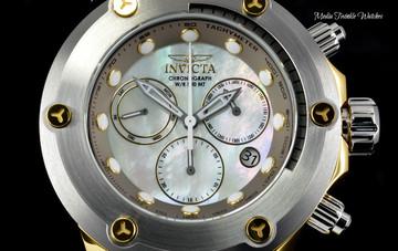 "Invicta 52mm Specialty Subaqua ""Elevated Bezel"" Gold Tone Gray Silicone Strap Watch 23931"