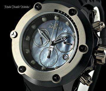 """Invicta 52mm Specialty Subaqua """"Elevated Bezel"""" MOP Dial Black Silicone Strap Watch 23928"""