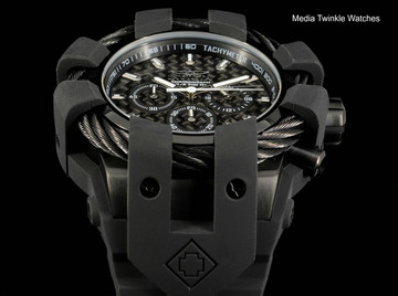 Invicta 50mm Bolt Sport Black Carbon Black Bezel Silicone Strap Watch 23864