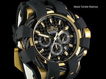 Invicta 50mm Bolt Sport Black Carbon Dial Gold Tone Bezel Silicone Strap Watch 23861