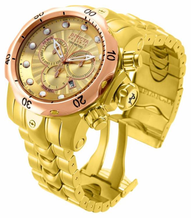 "Invicta 13874 Reserve Venom ""High Polished"" Gold Tone Bracelet Watch w/Strap | Free Shipping"