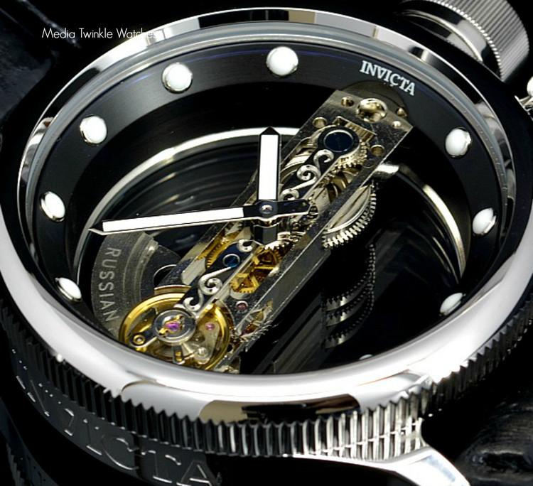 Invicta 14212 Russian Diver Bridge Automatic Silver Tone Black Leather Strap Watch | Free Shipping