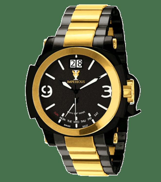 Imperious IMP1049 Men's Man of War Swiss Made Day Retrograde Quartz Stainless Steel Bracelet Watch | Free Shipping