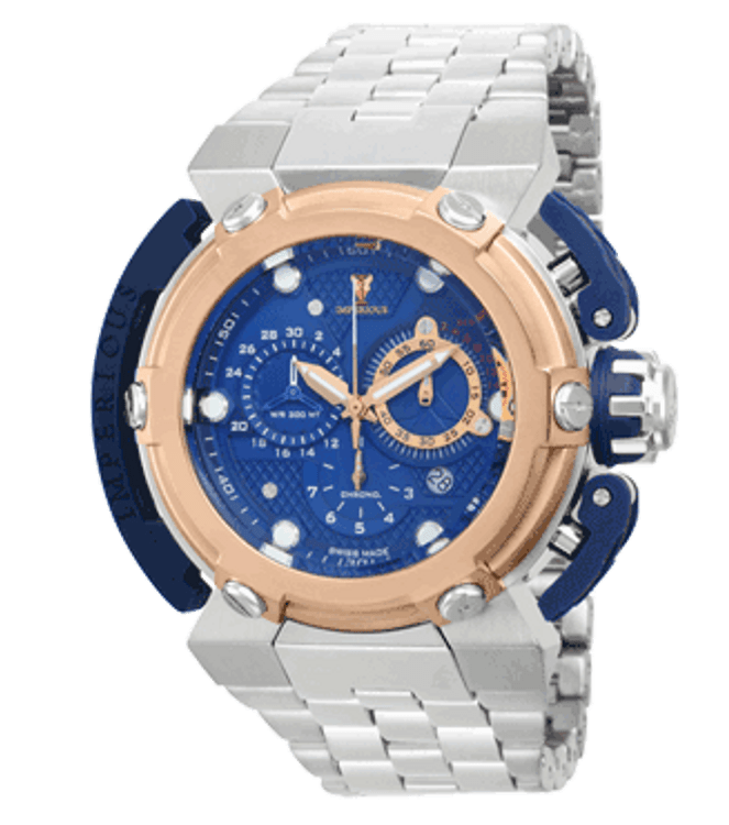Imperious IMP1082 Men's X-Wing Swiss Made Quartz Chronograph Blue Dial Stainless Steel Bracelet Watch | Free Shipping