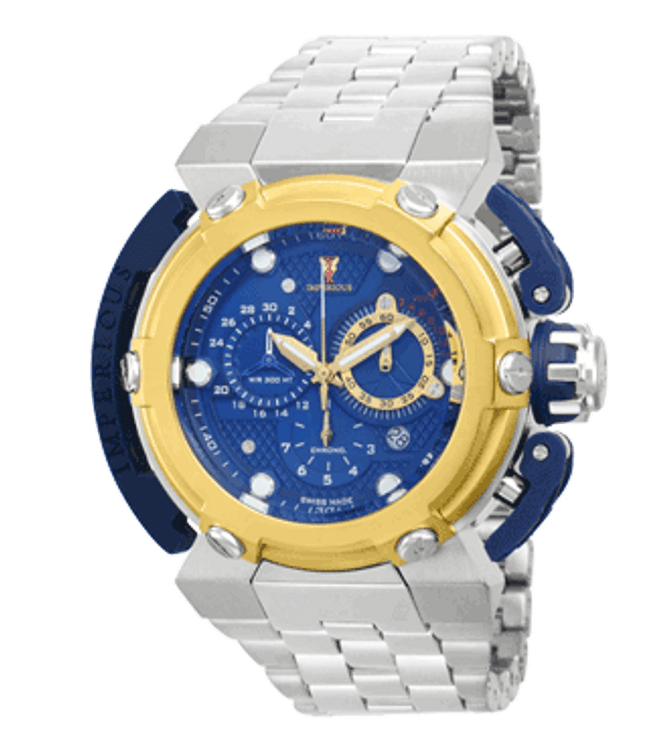 Imperious IMP1085 Men's X-Wing Swiss Made Quartz Chronograph Blue Dial Gold Tone Stainless Steel Bracelet Watch | Free Shipping