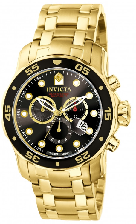 Invicta 0072 Pro Diver Scuba Quartz Chronograph Stainless Steel Bracelet Watch | Free Shipping