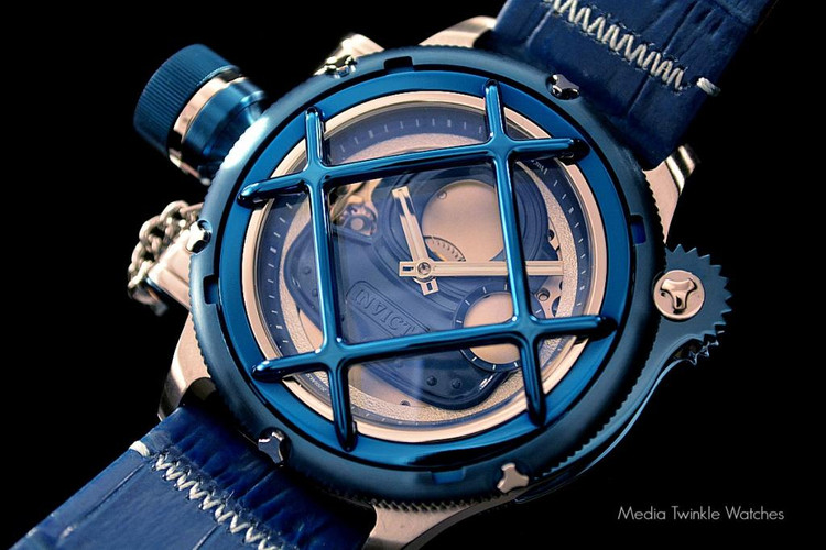 Invicta 14815 Men's Russian Nautilus Swiss Mechanical Blue Dial Blue Leather Strap Watch | Free Shipping