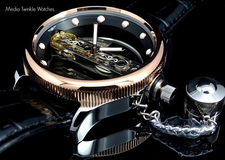 Invicta 14214 Russian Diver Bridge Automatic Rose Gold Tone Black Leather Strap Watch | Free Shipping
