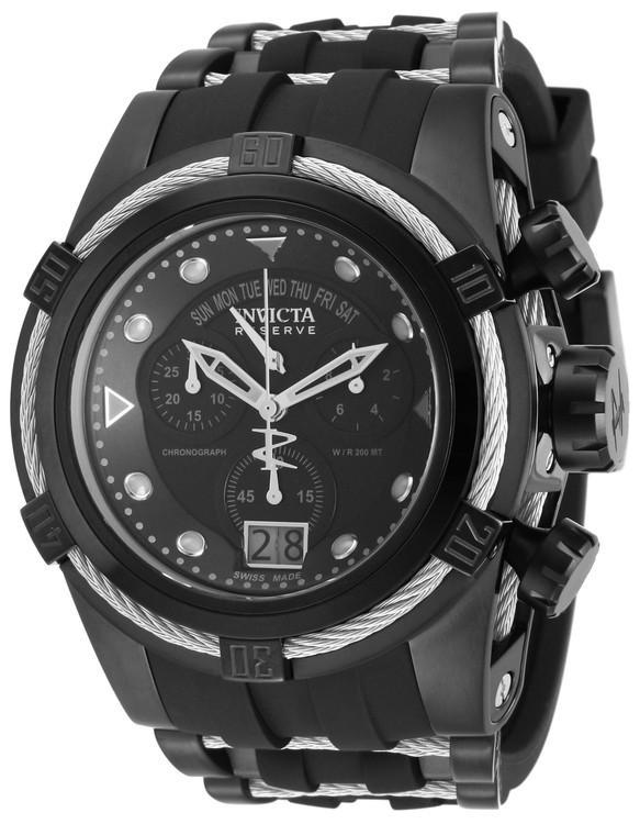 Invicta 12298 Reserve Bolt Zeus Quartz Chronograph Black Dial Silver Bezel Watch   Free Shipping