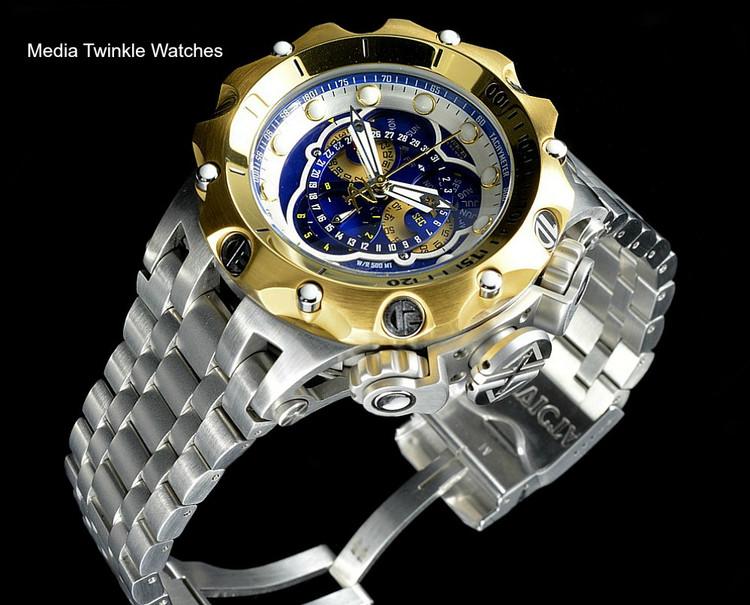 Invicta 16808 Reserve VENOM Hybrid Gold Tone Bezel 5040F Swiss Quartz Chronograph Bracelet Watch   Free Shipping