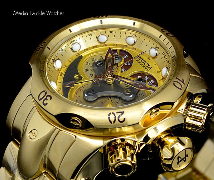 Invicta 14462 Reserve 52mm Venom Swiss Quartz Chronograph 5040F Gold Tone Black Dial Watch   Free Shipping