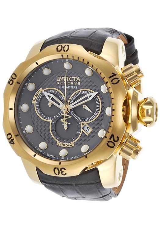 Invicta 15464 Reserve 52mm Venom Swiss Chronograph 5040D Black Carbon Fiber Dial Leather Strap Watch | Free Shipping