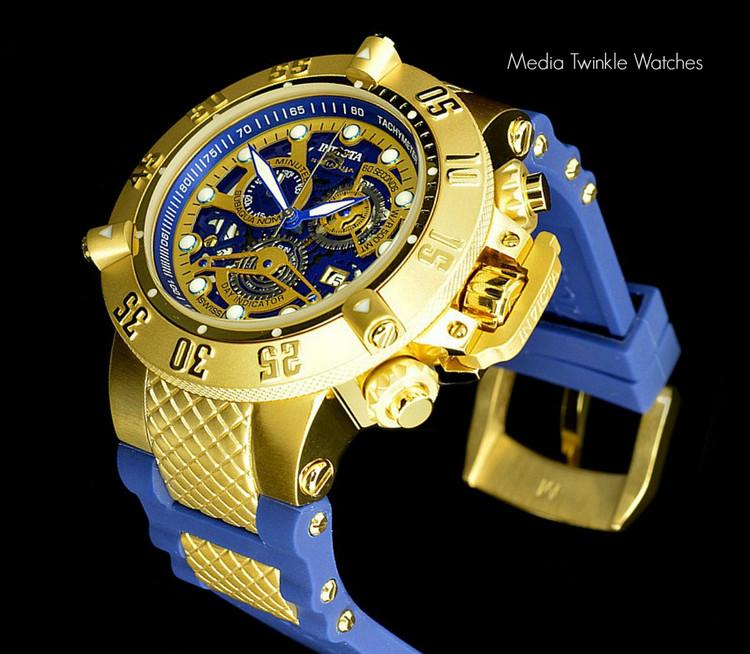Invicta 18527 Men's Subaqua Noma III Swiss Quartz Chronograph 18k Gold Tone Blue Polyurethane Strap Watch | Free Shipping