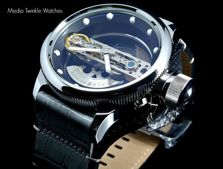 Invicta 14212 Russian Diver Bridge Automatic Silver Tone Grey and Black Lagarto Leather Strap Watch | Free Shipping