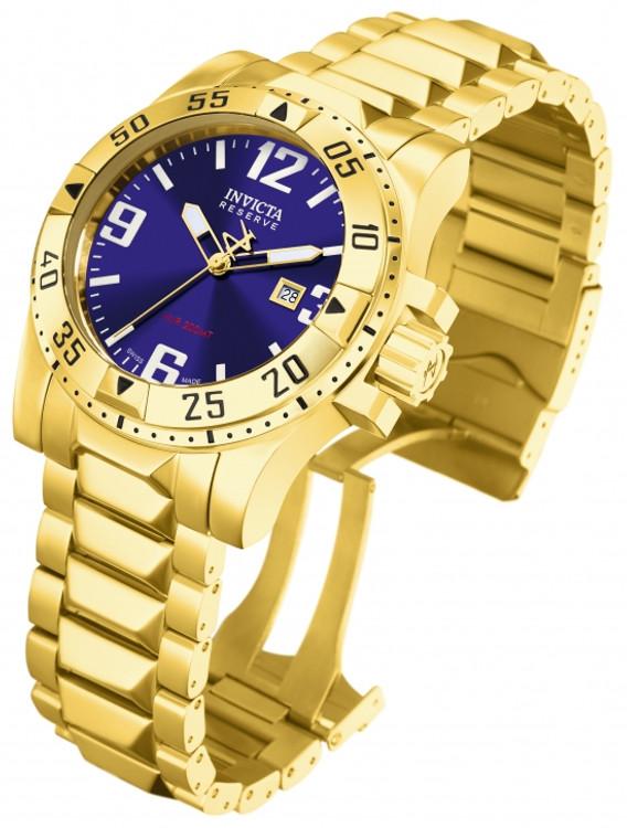 Invicta 6248 Reserve Men's Excursion Swiss Quartz Blue Dial Gold-tone Watch | Free Shipping