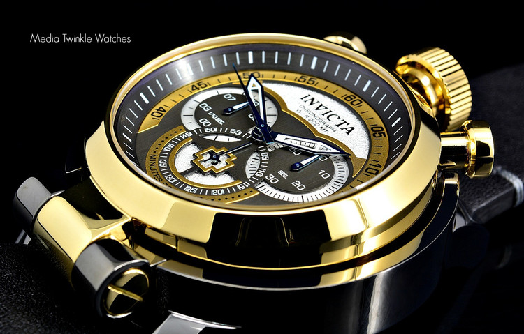 Invicta 18773 I Force Admiral 52mm Quartz Chronograph Black & Gold Tone Dial Leather Strap Watch | Free Shipping