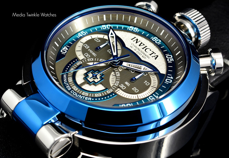 Invicta 18770 I Force Admiral 52mm Quartz Chronograph Blue & Silver Dial Leather Strap Watch | Free Shipping