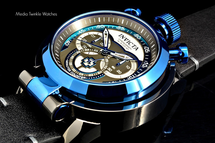 Invicta 18772 I Force Admiral 52mm Quartz Chronograph Blue & Gunmetal Dial Leather Strap Watch | Free Shipping