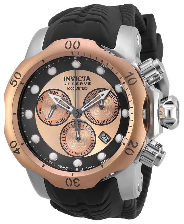 Invicta 19921 Reserve 52mm Venom Sea Dragon Swiss Made Quartz Chronograph Black & Rose Gold Tone Silicone Strap Watch | Free Shipping