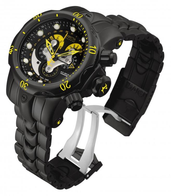Invicta 14458 Reserve 52mm Venom Swiss Quartz Chronograph 5040F Blakck & Yellow Dial Black Bracelet Watch | Free Shipping